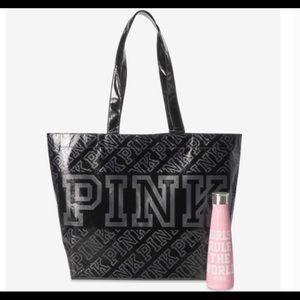 Pink tote with water bottle